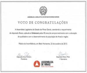 Assembleia Legislativa de Minas Gerais homenageou o UNIARAXÁ
