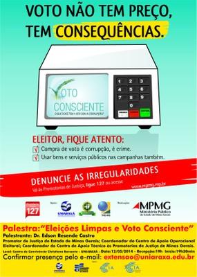 UNIARAXÁ recebe palestra Eleições Limpas e Voto Consciente em maio