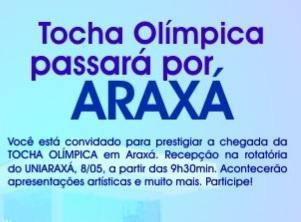 UNIARAXÁ será ponto de apoio em revezamento da Tocha Olímpica no domingo, 8 de maio